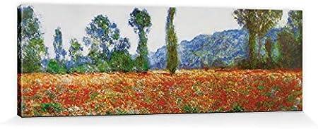 1art1 Claude Monet - Campo De Amapolas En Giverny, 1890 Cuadro, Lienzo Montado sobre Bastidor (120 x 40cm)