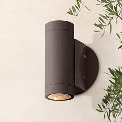 Modern Outdoor Wall Light Fixture Matte Bronze Cylinder 6 1/2
