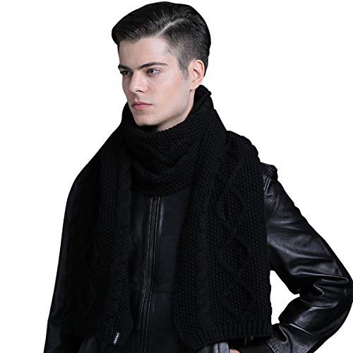 CACUSS Men's Winter Long Thick Cable Knitted Scarf Super Soft Warm Scarves for Cold Weather (Black)