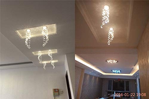 FidgetKute 3W LED Crystal Ceiling Light Small Chandelier Lamp Pendant Fixture Hallway Decor Warm White Surface Mount by FidgetKute (Image #6)