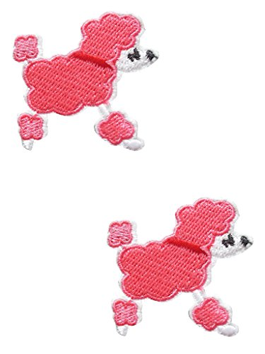 2 pieces POODLE DOG Iron On Patch Applique Motif Fabric Puppy Decal 1.8 x 1.8 inches (4.5 x 4.5 cm) -