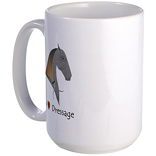 CafePress - I Love Dressage Grey Large Mug - Coffee Mug, Large 15 oz. White Coffee Cup