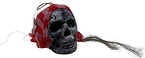 Lifesize Foam Skull - Pirate Head Hanging - With Hair & Head Scarf (Pack of 1) Assorted Style - Halloween (Cheap Halloween Costumes Online Uk)