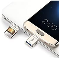 Acekool Dual USB Flash Drive 32G USB Type C 3.1 + USB 3.0 Micro Metal Key Ring High Speed Waterproof (64G)