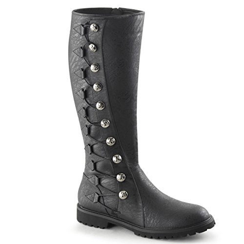 Summitfashions Mens Black Button Boots with Lacing Detail and 1.5 Inch Flat Heels
