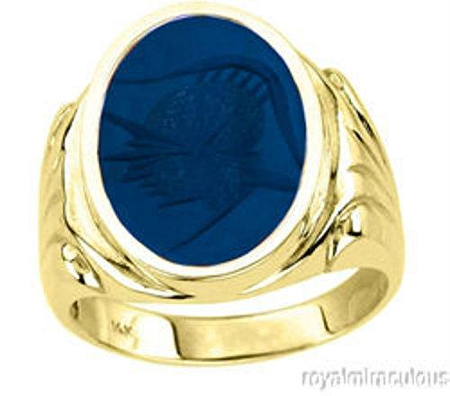 (Mens Blue Quartz Intaglio Ring 14K Yellow Gold)