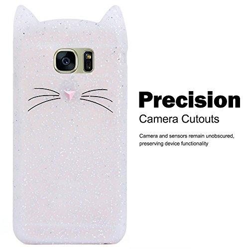 Samsung S7 / Galaxy S7케이스,Samsung S7크리에이티브 휴대폰 보호 커버,SevenPandae 3D프리미엄 러브 리 프로텍트 소프트TPU고무 소프트TPU실리콘 백 크리스탈 캣《무스탓슈스킨카바》만화 악세사리 전화 커버 - 화이트