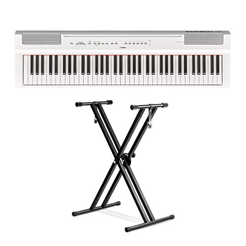 Yamaha P121 73-Key Weighted Action Digital Piano – White with Front Row Piano Stand