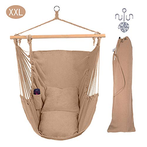 ONCLOUD XXL Large Hanging Rope Hammock Chair Porch Swing with 2 Pillows, Hanging Hardware and Drink Holder, Perfect for Indoor/Outdoor Home Bedroom Patio Deck Yard Garden, (Coffee)
