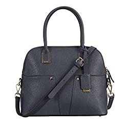COCOVANN Women's Work Space Navy Leather Satchel