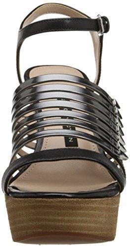 Sandalo Da Donna Con Cinturino In Pelle Di Vitello Nero / Chiaro