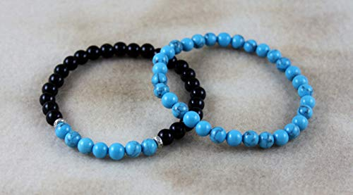 Turquoise and Black Onyx December Sagittarius Birthstone Bracelet Set