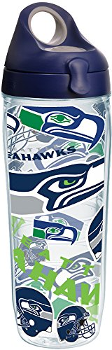 Tervis 1248199 NFL Seattle Seahawks All Over Tumbler with Wrap and Navy with Gray Lid 24oz Water Bottle, Clear