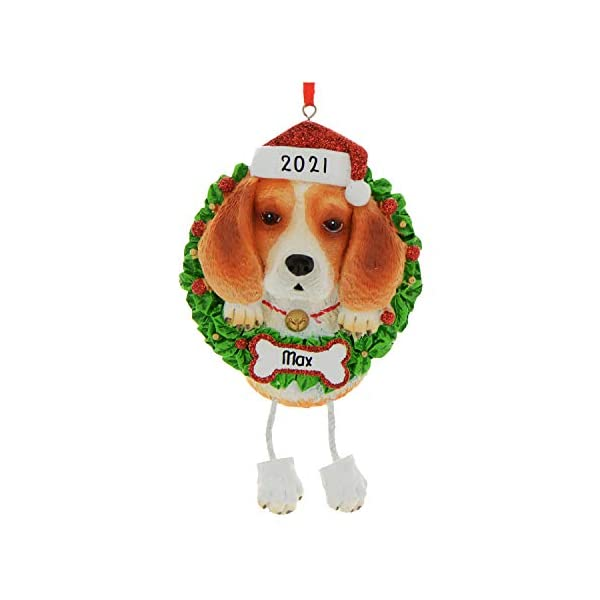 Personalized Beagle Pure Breed Christmas Tree Ornament 2019 - Fluffy Dog Dangle Paw Santa Hat Love Play Small Happy Fun Energetic Fur-Ever Orange Brown New Loyal Family R.i.p. - Free Customization 2