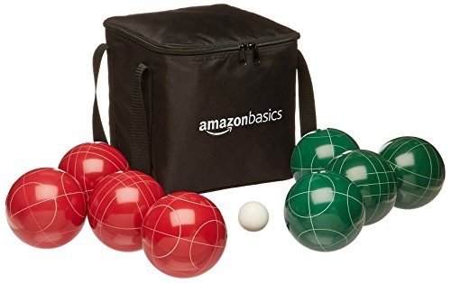 (AmazonBasics 100 Millimeter Bocce Ball Outdoor Yard Games Set with Soft Carrying Case - Red and Green)