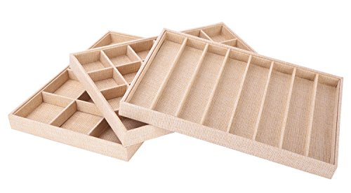 AUTOARK Sackcloth Stackable Jewelry Tray Showcase Display Organizer,Set of 3,AJ-005 (Erving Tray)