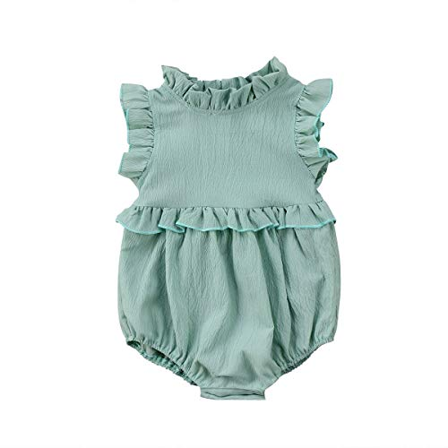 Fansxing Infant Toddler Baby Girls Sleeveless Ruffle Romper Bodysuit Outfit Summer Clothes (Green, 6-12 Months)