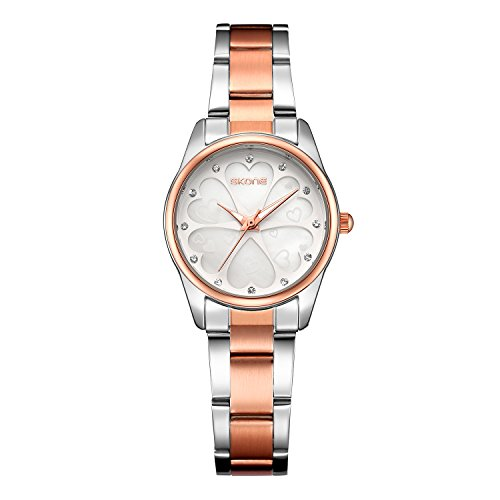 Women Watches, Casual Fashion Stainless Steel Watches Diamond Rhinestone Wrist Waterproof Quartz (Casual Ladies Watch)