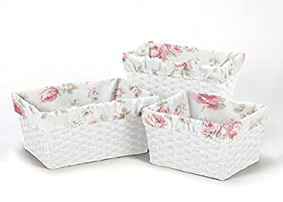 Sweet Jojo Designs 3-Piece Fits Most Basket Liners for Riley's Roses Bedding Sets