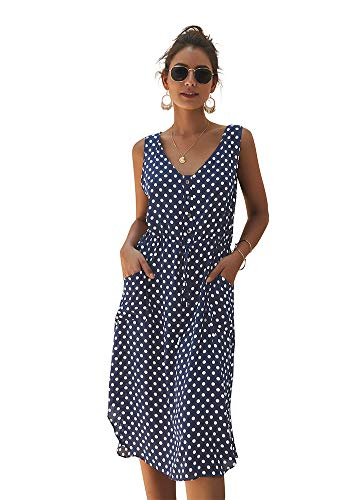 Eleter Women's Boho Polka Dot V Neck Sleeveless Side Split Button Drawstring Belt Summer Beach Dress with Pockets(S,Navy Blue)