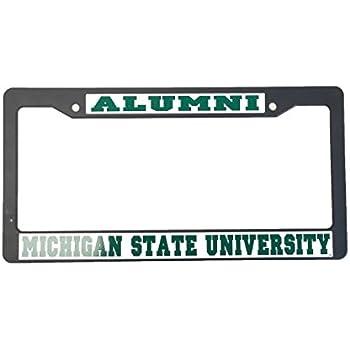 michigan state university alumni black plastic license plate frame for front back of car - Michigan State License Plate Frame
