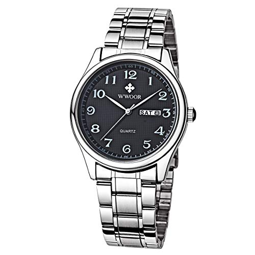 WWOOR Men Women Watch Couple Original Watch Waterproof Analog Quartz Digit Stainless Steel Business Casual Gift Watch Wristwatch (Black&White)