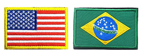 US Flag Brazilian Flag Patch, Antrix 2 Pack American Flag Brazil Flag Patch Military Tactical Morale Patches
