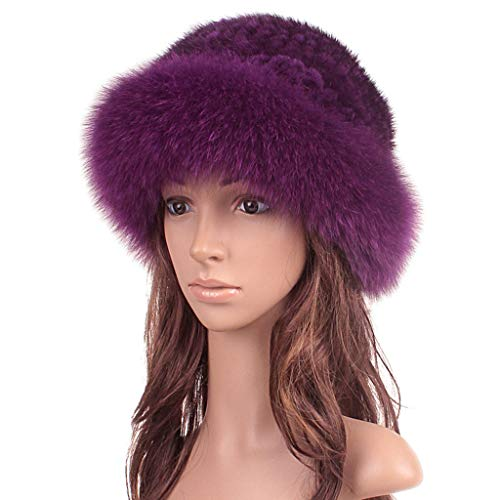 Womens Winter Hat Knitted Mink Real Fur Hats with Fox Fur Brim Elegant Hat for Women Purple