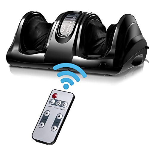 Giantex Foot Massager Machine with Heat, Chronic Nerve Pain Therapy Spa Gift Deep Kneading Rolling Massage for Leg Calf Ankle, Electric Shiatsu Foot Massager W/Remote (Black)