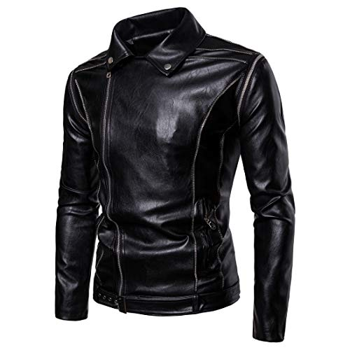 WEEN CHARM Mens Faux Leather Jacket with Hood Long Sleeve Premium Stand Collar Zip Up Racer Hoodie Leather Jacket ()