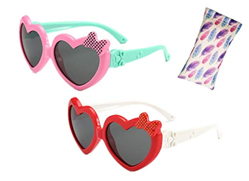 Heart Shaped Sunglasses Kids, UV Proof Flexible Fashon Cute Silicone Rubber Unbreakable Polarized Sunglasses for Kids Girls Youth Baby Children Toddler 2 Pack Pink Red Age ()