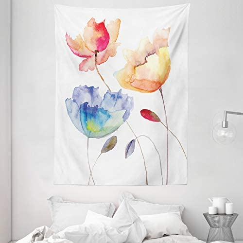 Ambesonne Watercolor Flower Tapestry, Summer Flowers in Retro Style Painting Effect Nature is Art, Wall Hanging for Bedroom Living Room Dorm, 60 X 80 , Pink Yellow