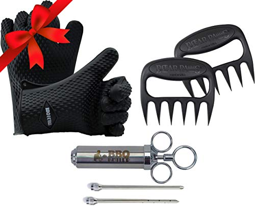 Pork Kit: Original Bear Paws, Silicone Gloves and Meat Injector - 3 Great BBQ Accessories for Meat - Claw Kit Bear