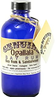 product image for 8 oz Genuine Ogallala Bay Rum & Sandalwood Aftershave Old-time looking bottle and label.