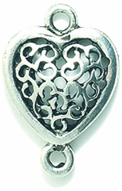 Pewter Filigree Bead - Shipwreck Beads Pewter Heart with Filigree Connector, 13 by 19mm, Metallic, Silver, 5-Piece