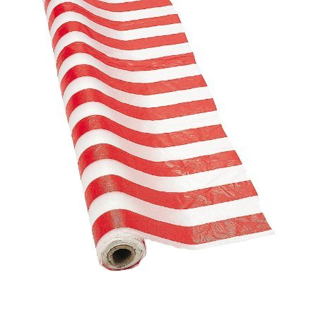 Red & White Striped Tablecloth Roll - 100 Ft. X 40