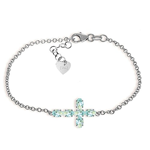 ALARRI 1.7 Carat 14K Solid White Gold Cross Bracelet Natural Aquamarine Size 8 Inch Length by ALARRI