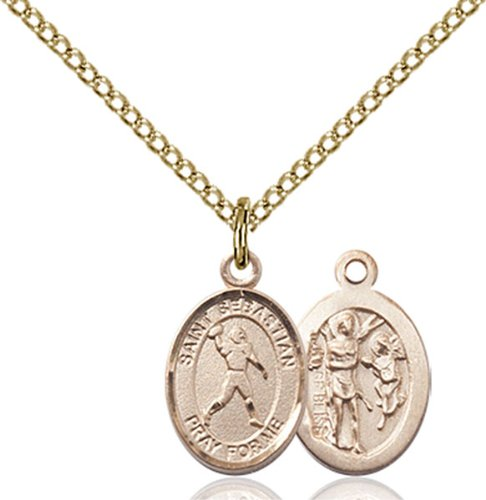 Foot Pendant 14kt Gold Jewelry (VERY SMALL CHILDRENS JEWELRY / 14kt Gold Filled St. Sebastian/Football Pendant / GF Lite Curb Chain /)