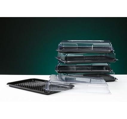 Bandeja rectangular para comida con tapa transparente (45 x 30 cm), color negro