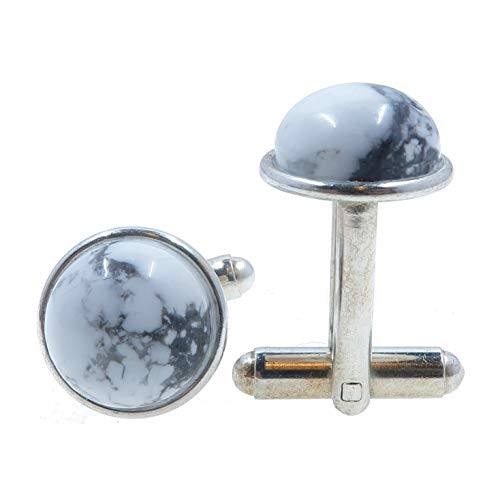 SatinCrystals Howlite Cufflinks 12mm Boutique White Gray Gemstone Polished Circle Metal Pair B01 (Silver-Plated-Brass)