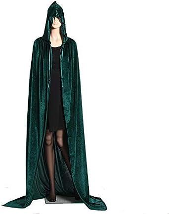 Vampire Hooded Cloak Witch Robe Cape Floor-length Halloween Dress Deluxe Gothic