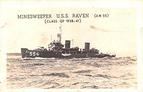 Military Battleship Postcard, Old Vintage Antique Military Ship Post Card Minesweeper USS Raven, Class of 1938-41 Unused
