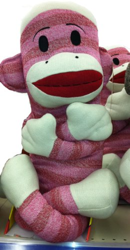 Maxx the Giant PINK Plush Sock Monkey ~ Almost 4 Ft. Tall -