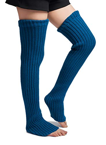 Leotruny Women's Winter Over Knee High Footless Socks Knit Leg Warmers (Peacock ()