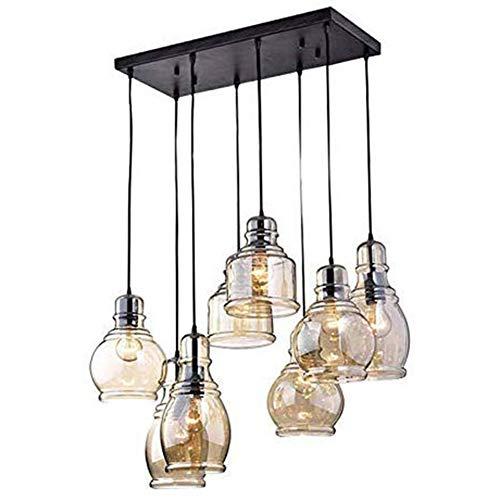 FM-24 Vintage 8-Lights Island Cognac Glass Cluster Pendant Chandelier Antique Black Finish Glass Ceiling Lights for Dining Room, Cafe, Bar (Chandelier Pendant Glass Light)