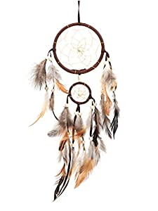 Dream Catchers Brown Handmade Beaded Feather Native American Dreamcatcher Circular Net for Car Kids Bed Room Wall Hanging Decoration Decor Ornament Craft, Dia of Circle: 4.33inch/11cm &1.97inch/5cm