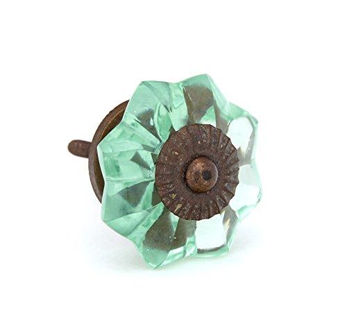 Mint Green Glass Kitchen Cabinet Pulls, Dresser Knobs with Antique Dark Brass Hardware