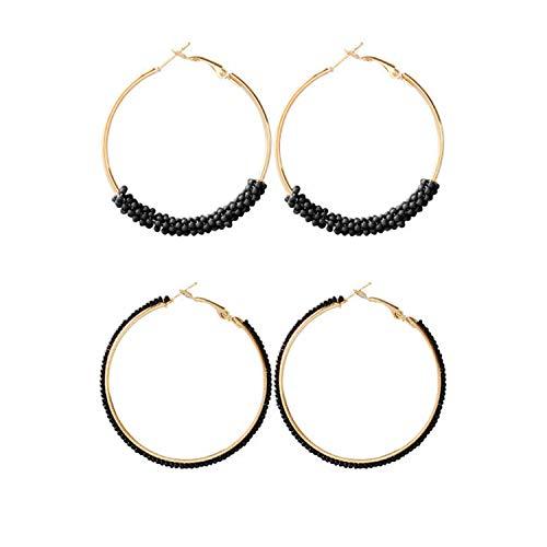 (Dcfywl731 Bohemian Circle Colorful Beaded Earrings,CHUYUN Gold Plated Hoop Dangle Earrings for Girls (2 Pcs)