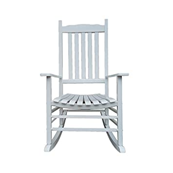 Rockingrocker – A001WT White Porch Rocker Rocking Chair – Easy to Assemble – Comfortable Size – Outdoor or Indoor Use