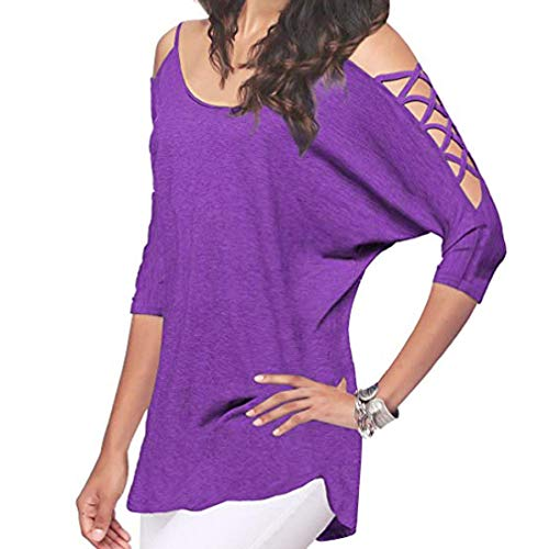 Clearance Sale! Seaintheson Women's Sexy Loose Cold Shoulder Half Sleeve Shirts Casual Hollowed Out T Shirts Blouse Tops